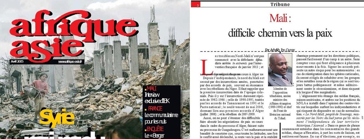 Mali: Difficile chemin vers la paix (Tribune dans Afrique-Asie, Avril 2015)